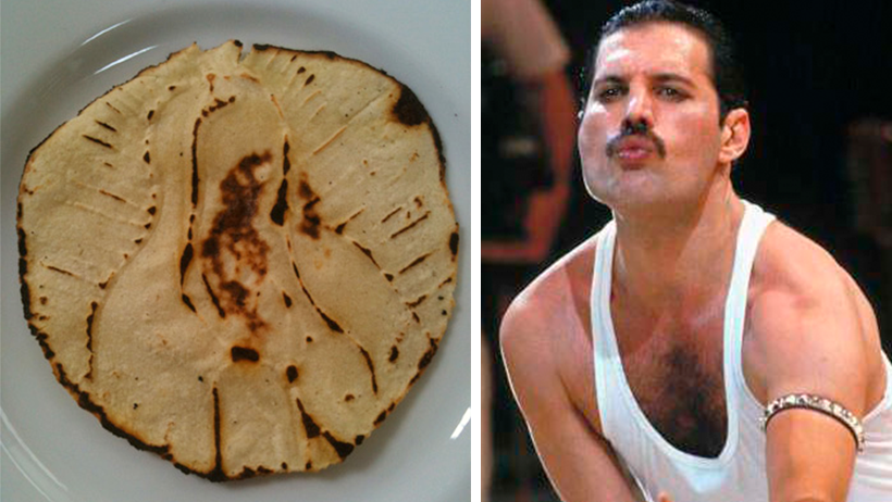 """Freddie Mercury aplicó un """"Virgencita de Guadalupe"""" y se apareció en una chuleta de puerco"""