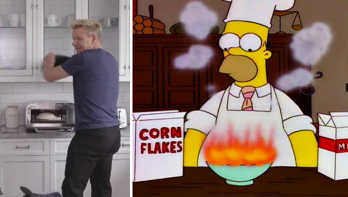 Ironía nivel: se le quema la comida a Gordon de Master Chef mientras hacía tutorial